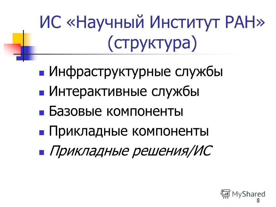 8 ИС «Научный Институт РАН» (структура) Инфраструктурные службы Интерактивные службы Базовые компоненты Прикладные компоненты Прикладные решения/ИС