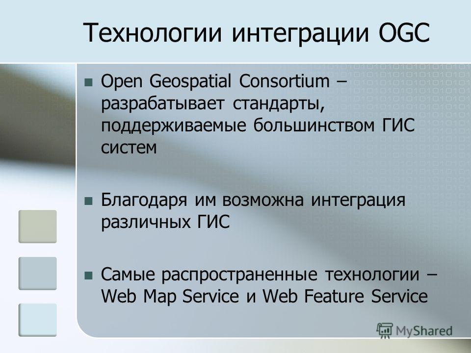Технологии интеграции OGC Open Geospatial Consortium – разрабатывает стандарты, поддерживаемые большинством ГИС систем Благодаря им возможна интеграция различных ГИС Самые распространенные технологии – Web Map Service и Web Feature Service