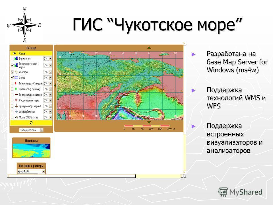 ГИС Чукотское море Разработана на базе Map Server for Windows (ms4w) Поддержка технологий WMS и WFS Поддержка встроенных визуализаторов и анализаторов