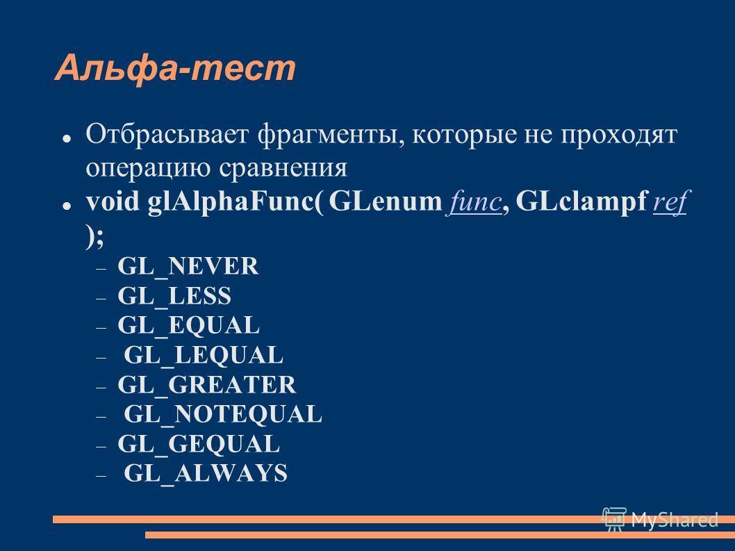 Альфа-тест Отбрасывает фрагменты, которые не проходят операцию сравнения void glAlphaFunc( GLenum func, GLclampf ref );funcref GL_NEVER GL_LESS GL_EQUAL GL_LEQUAL GL_GREATER GL_NOTEQUAL GL_GEQUAL GL_ALWAYS