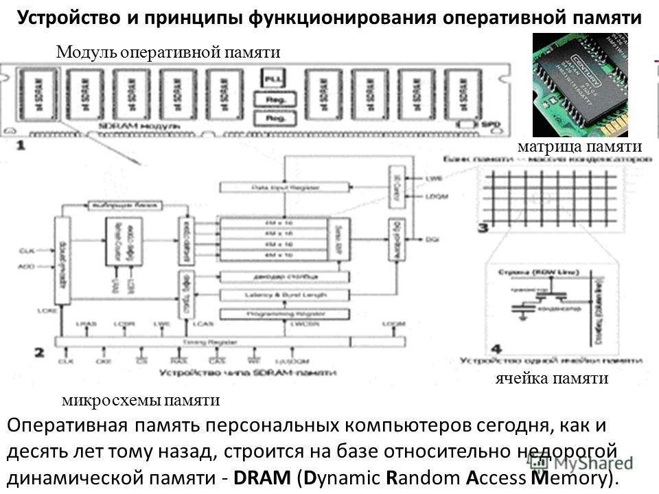 Устройство и принципы функционирования оперативной памяти Оперативная память персональных компьютеров сегодня, как и десять лет тому назад, строится на базе относительно недорогой динамической памяти - DRAM (Dynamic Random Access Memory). Модуль опер
