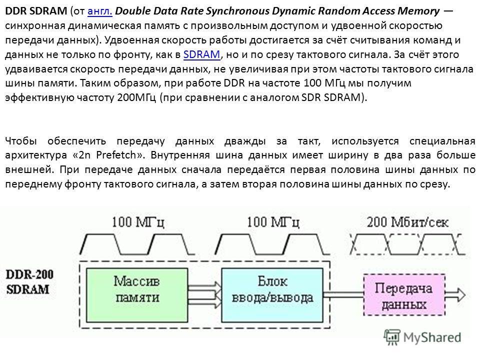 DDR SDRAM (от англ. Double Data Rate Synchronous Dynamic Random Access Memory синхронная динамическая память с произвольным доступом и удвоенной скоростью передачи данных). Удвоенная скорость работы достигается за счёт считывания команд и данных не т