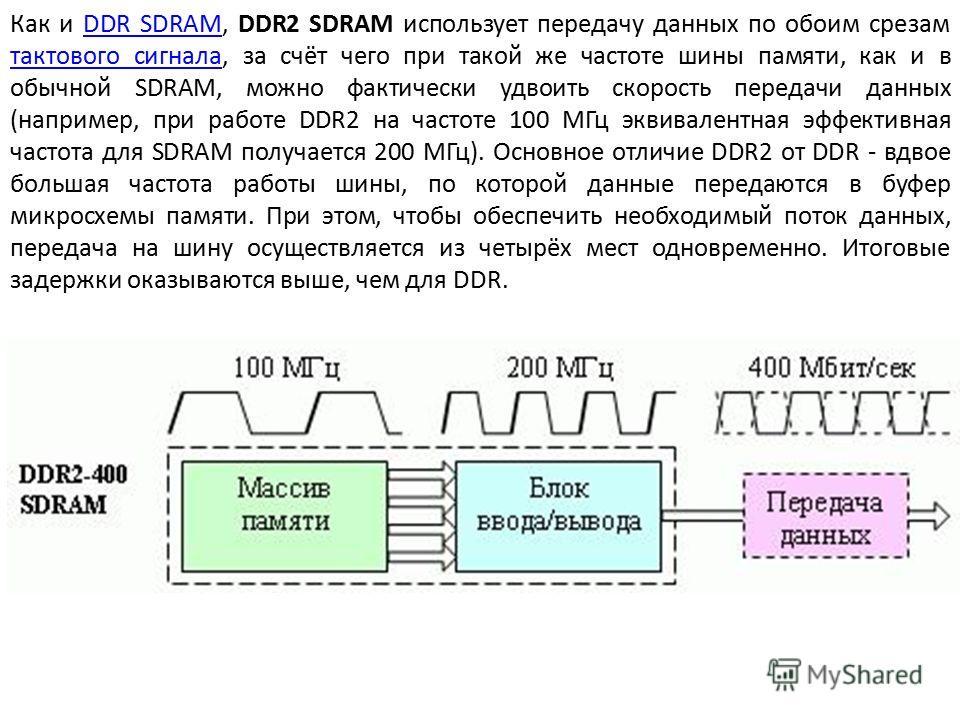 Как и DDR SDRAM, DDR2 SDRAM использует передачу данных по обоим срезам тактового сигнала, за счёт чего при такой же частоте шины памяти, как и в обычной SDRAM, можно фактически удвоить скорость передачи данных (например, при работе DDR2 на частоте 10