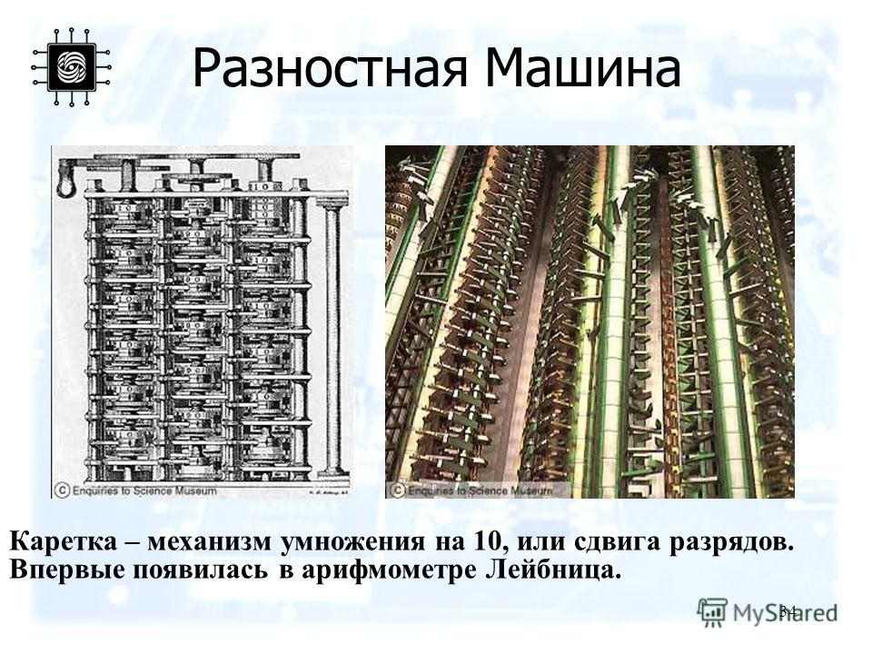 34 Разностная Машина Каретка – механизм умножения на 10, или сдвига разрядов. Впервые появилась в арифмометре Лейбница.