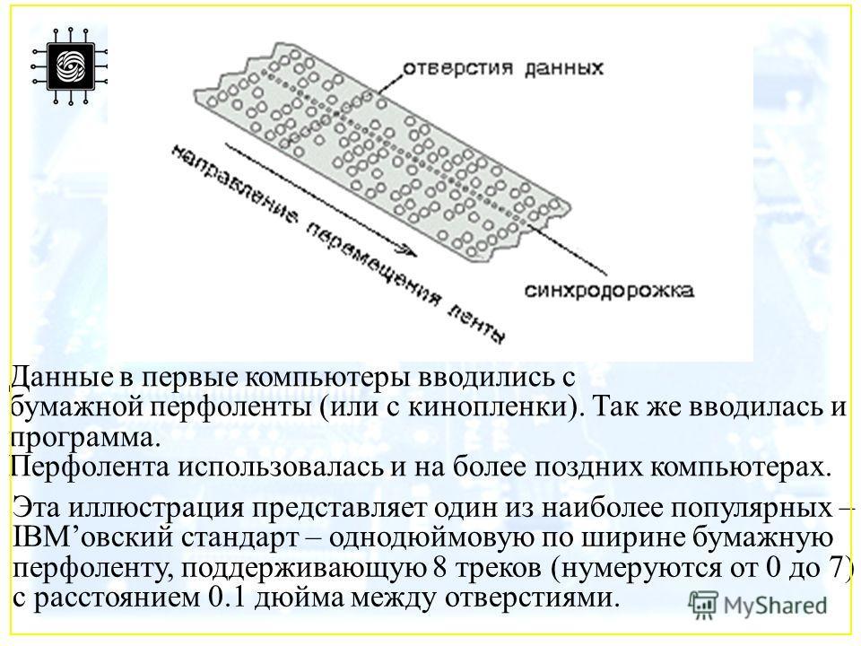 Эта иллюстрация представляет один из наиболее популярных – IBMовский стандарт – однодюймовую по ширине бумажную перфоленту, поддерживающую 8 треков (нумеруются от 0 до 7) с расстоянием 0.1 дюйма между отверстиями. Данные в первые компьютеры вводились