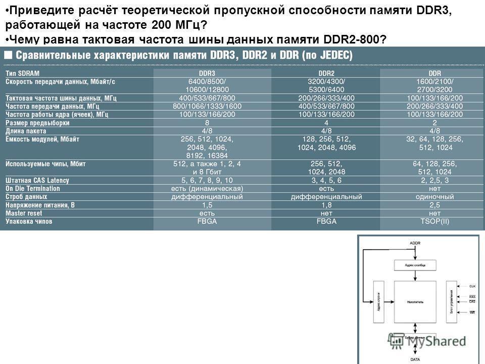Приведите расчёт теоретической пропускной способности памяти DDR3, работающей на частоте 200 МГц? Чему равна тактовая частота шины данных памяти DDR2-800?