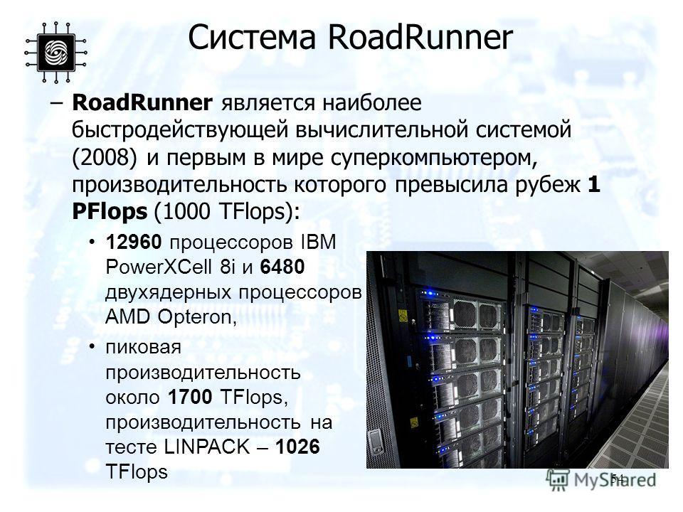 54 –RoadRunner является наиболее быстродействующей вычислительной системой (2008) и первым в мире суперкомпьютером, производительность которого превысила рубеж 1 PFlops (1000 TFlops): Система RoadRunner 12960 процессоров IBM PowerXCell 8i и 6480 двух