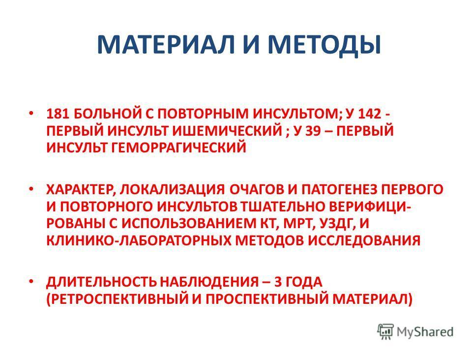 МАТЕРИАЛ И МЕТОДЫ 181 БОЛЬНОЙ С ПОВТОРНЫМ ИНСУЛЬТОМ; У 142 - ПЕРВЫЙ ИНСУЛЬТ ИШЕМИЧЕСКИЙ ; У 39 – ПЕРВЫЙ ИНСУЛЬТ ГЕМОРРАГИЧЕСКИЙ ХАРАКТЕР, ЛОКАЛИЗАЦИЯ ОЧАГОВ И ПАТОГЕНЕЗ ПЕРВОГО И ПОВТОРНОГО ИНСУЛЬТОВ ТШАТЕЛЬНО ВЕРИФИЦИ- РОВАНЫ С ИСПОЛЬЗОВАНИЕМ КТ, МР