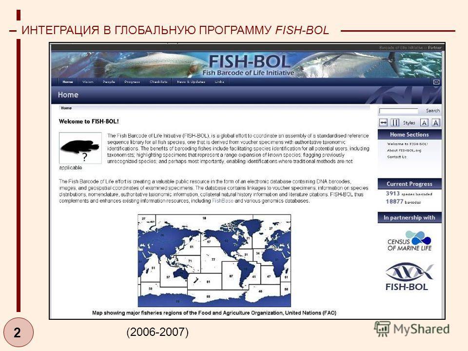 2 ИНТЕГРАЦИЯ В ГЛОБАЛЬНУЮ ПРОГРАММУ FISH-BOL (2006-2007)