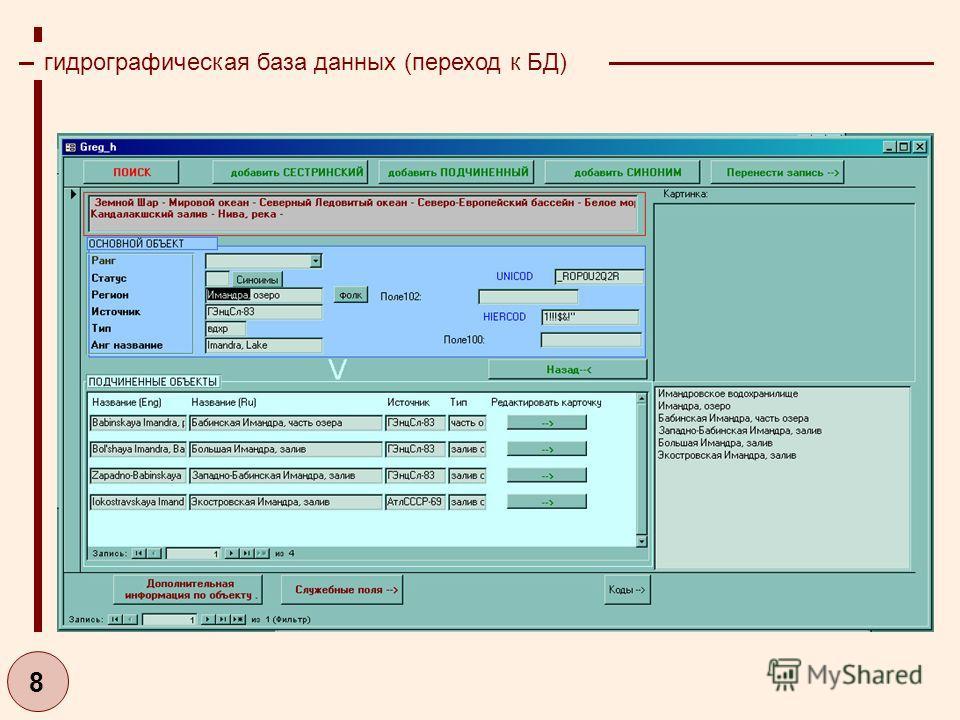 8 гидрографическая база данных (переход к БД)