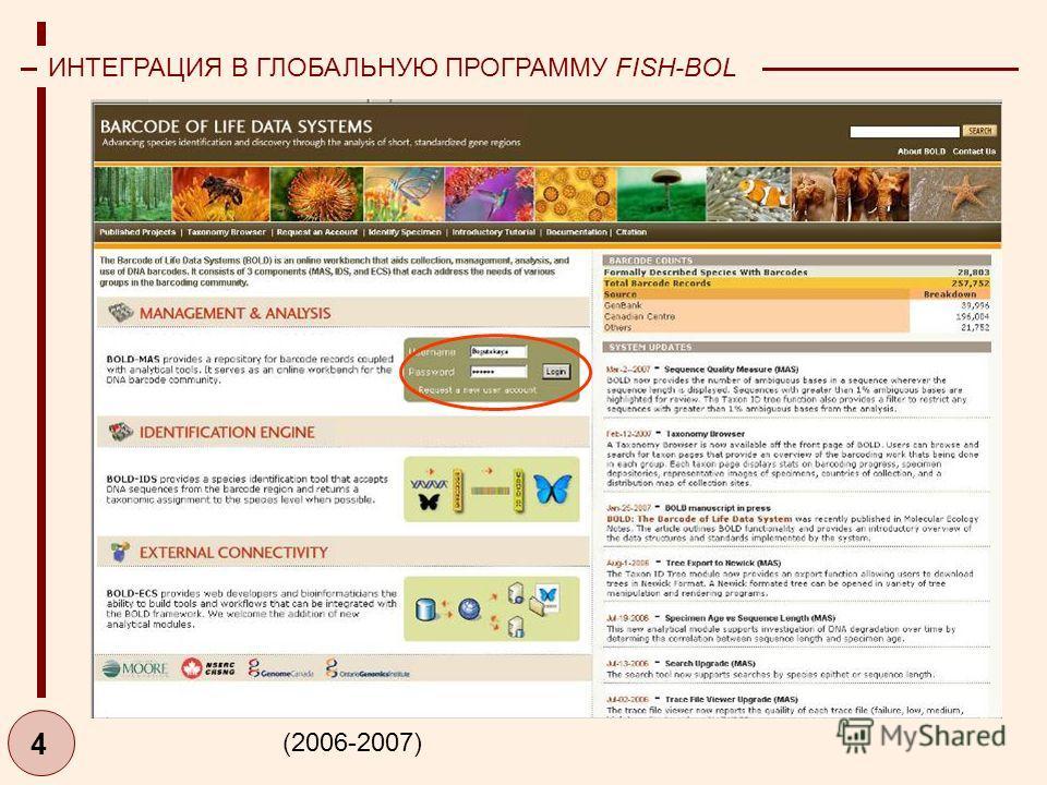 4 ИНТЕГРАЦИЯ В ГЛОБАЛЬНУЮ ПРОГРАММУ FISH-BOL (2006-2007)