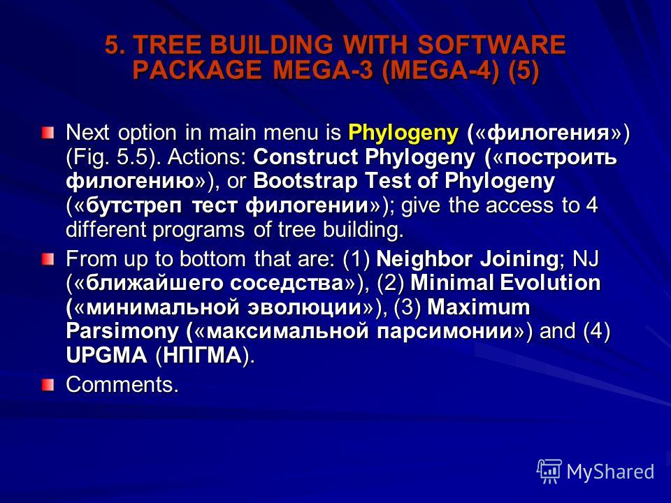 5. TREE BUILDING WITH SOFTWARE PACKAGE MEGA-3 (MEGA-4) (5) Next option in main menu is Phylogeny («филогения») (Fig. 5.5). Actions: Construct Phylogeny («построить филогению»), or Bootstrap Test of Phylogeny («бутстреп тест филогении»); give the acce