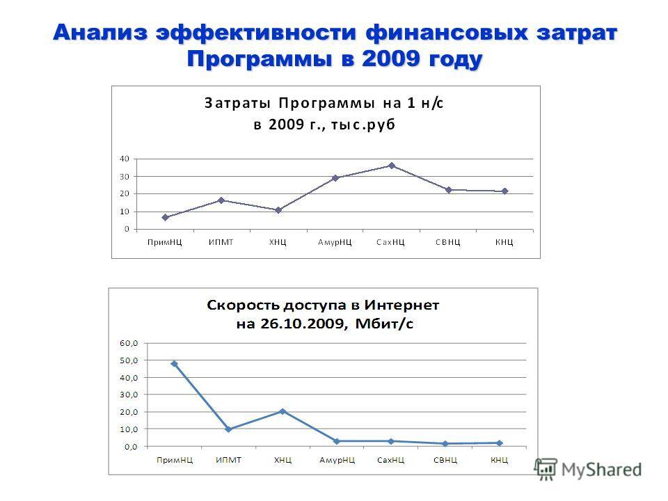 Анализ эффективности финансовых затрат Программы в 2009 году