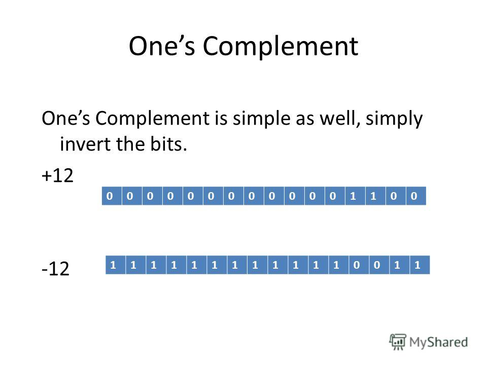 Ones Complement Ones Complement is simple as well, simply invert the bits. +12 -12 0000000000001100 1111111111110011