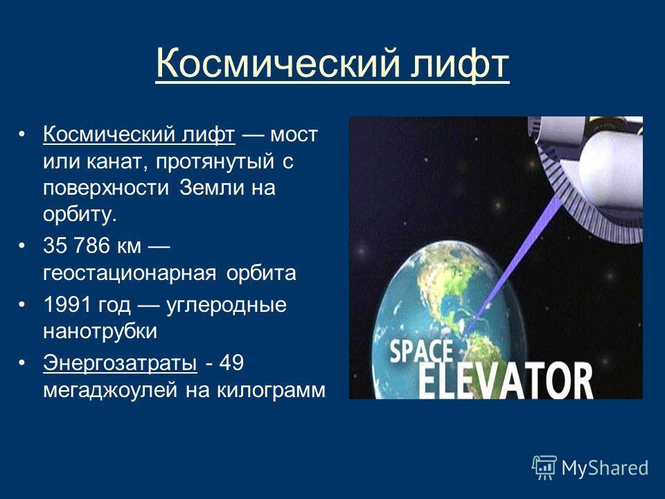 Космический лифт Космический лифт мост или канат, протянутый с поверхности Земли на орбиту. 35 786 км геостационарная орбита 1991 год углеродные нанотрубки Энергозатраты - 49 мегаджоулей на килограмм