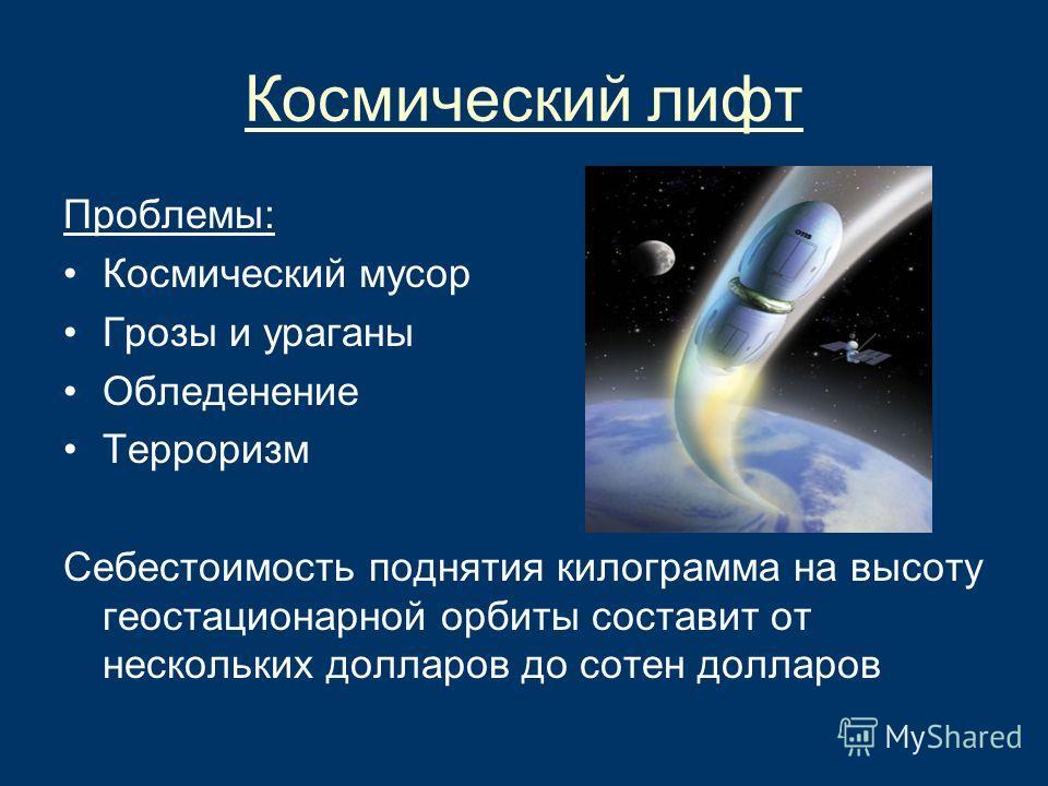 Космический лифт Проблемы: Космический мусор Грозы и ураганы Обледенение Терроризм Себестоимость поднятия килограмма на высоту геостационарной орбиты составит от нескольких долларов до сотен долларов