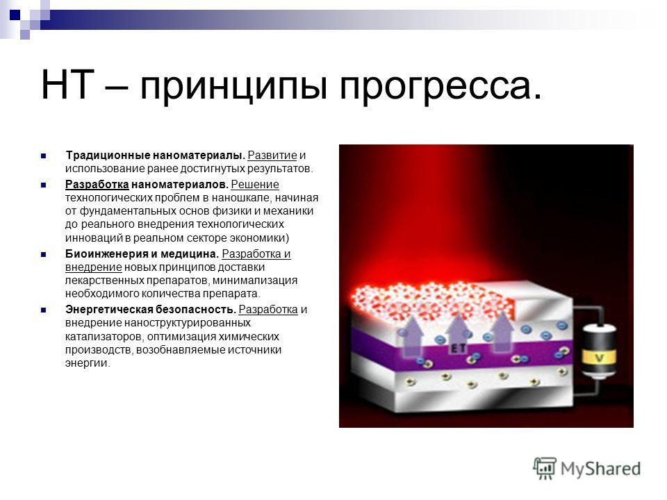 НТ – принципы прогресса. Традиционные наноматериалы. Развитие и использование ранее достигнутых результатов. Разработка наноматериалов. Решение технологических проблем в наношкале, начиная от фундаментальных основ физики и механики до реального внедр