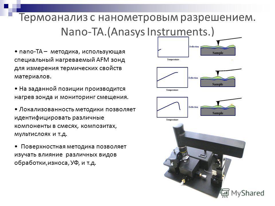 Термоанализ с нанометровым разрешением. Nano-TA.(Anasys Instruments.) nano-TA – методика, использующая специальный нагреваемый AFM зонд для измерения термических свойств материалов. На заданной позиции производится нагрев зонда и мониторинг смещения.