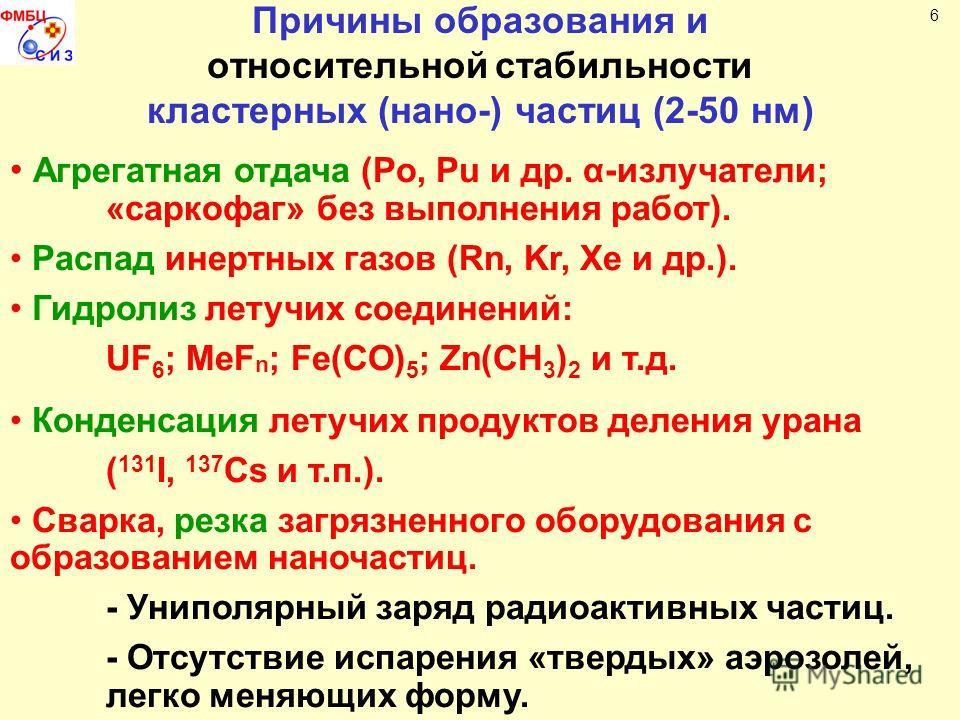 Причины образования и относительнойстабильности кластерных (нано-) частиц (2-50 нм) Агрегатная отдача (Po, Pu и др. α-излучатели; «саркофаг» без выполнения работ). Распад инертных газов (Rn, Kr, Xe и др.). Гидролиз летучих соединений: UF 6 ; MeF n ;
