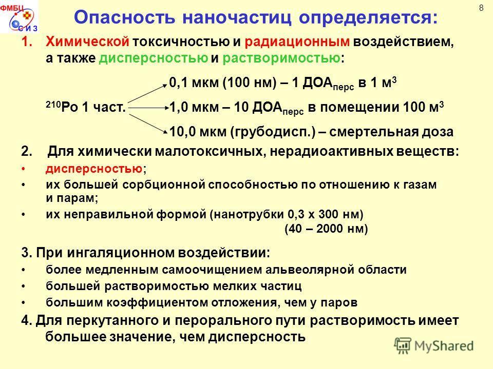 Опасность наночастиц определяется: 8 1.Химической токсичностью и радиационным воздействием, а также дисперсностью и растворимостью: 0,1 мкм (100 нм) – 1 ДОА перс в 1 м 3 210 Ро 1 част.1,0 мкм – 10 ДОА перс в помещении 100 м 3 10,0 мкм (грубодисп.) –