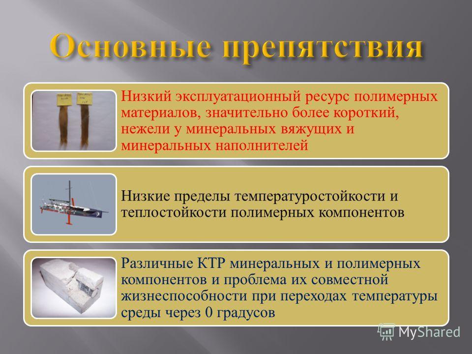 Низкий эксплуатационный ресурс полимерных материалов, значительно более короткий, нежели у минеральных вяжущих и минеральных наполнителей Низкие пределы температуростойкости и теплостойкости полимерных компонентов Различные КТР минеральных и полимерн