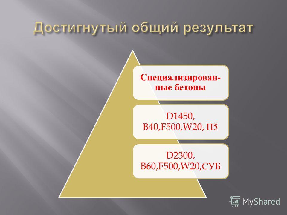 Специализирован- ные бетоны D1450, B40,F500,W20, П5 D2300, B60,F500,W20,СУБ