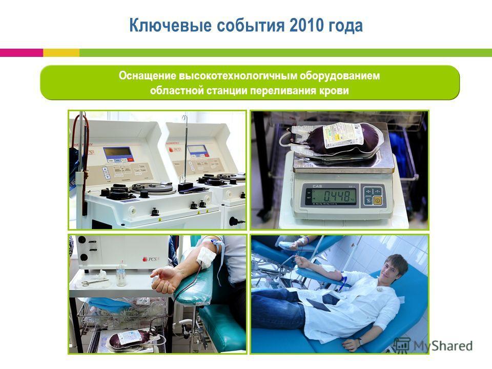 Оснащение высокотехнологичным оборудованием областной станции переливания крови Ключевые события 2010 года