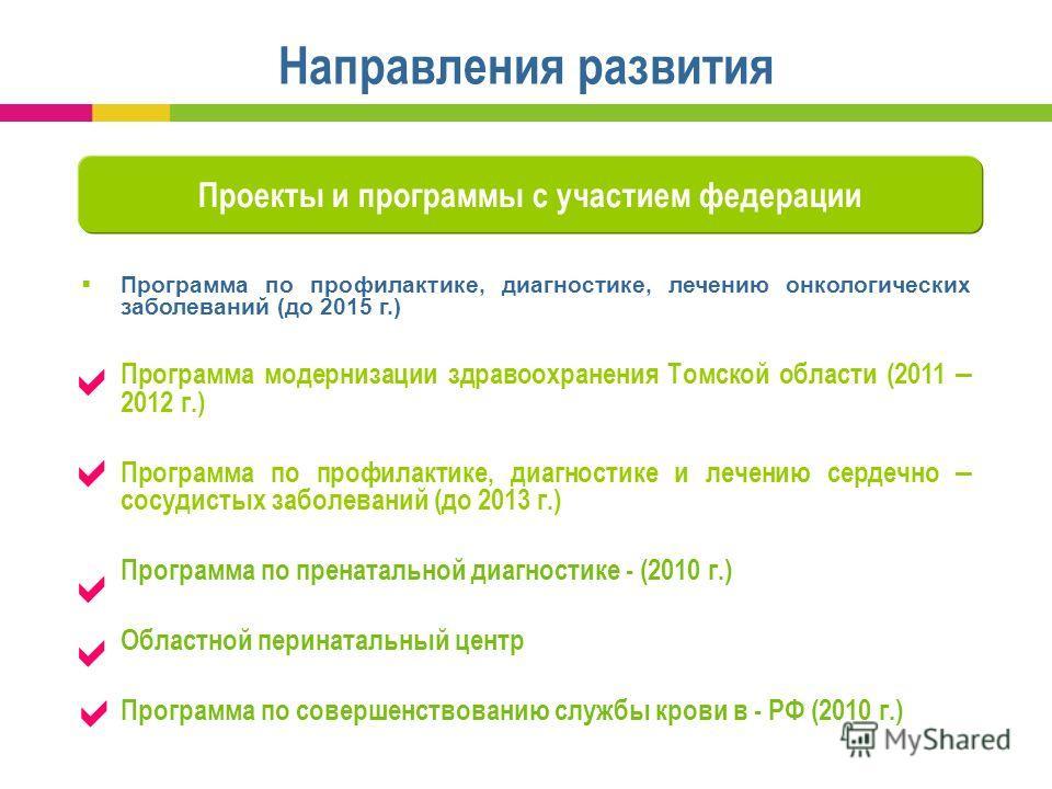 Программа по профилактике, диагностике, лечению онкологических заболеваний (до 2015 г.) Программа модернизации здравоохранения Томской области (2011 – 2012 г.) Программа по профилактике, диагностике и лечению сердечно – сосудистых заболеваний (до 201