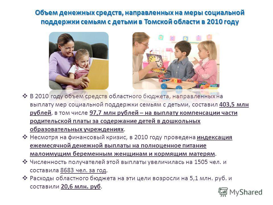Объем денежных средств, направленных на меры социальной поддержки семьям с детьми в Томской области в 2010 году В 2010 году объем средств областного бюджета, направленных на выплату мер социальной поддержки семьям с детьми, составил 403,5 млн рублей,