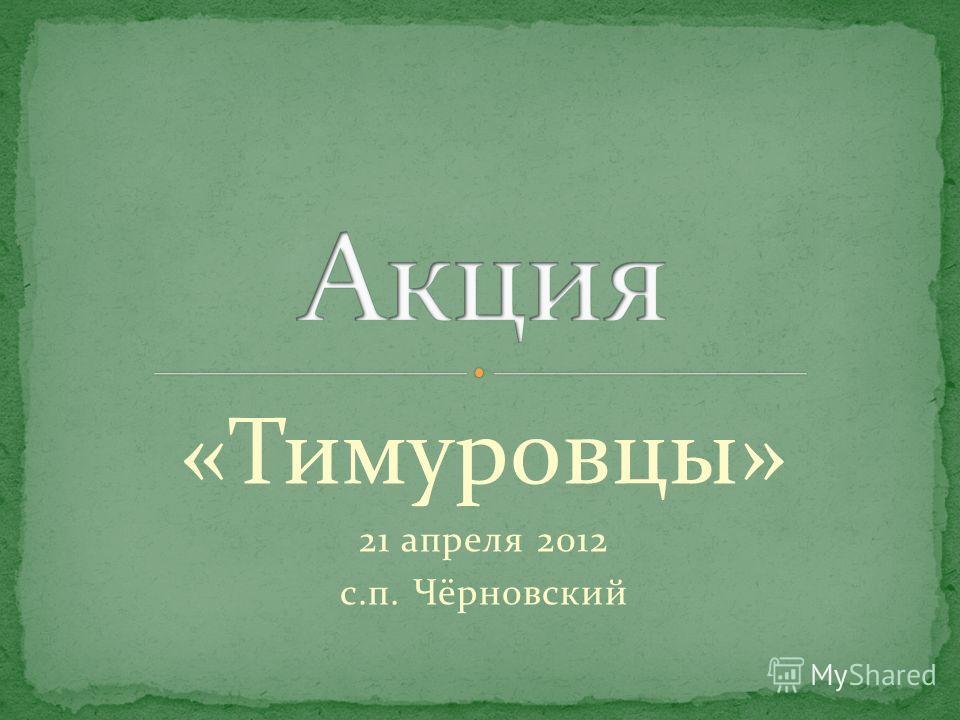 «Тимуровцы» 21 апреля 2012 с.п. Чёрновский