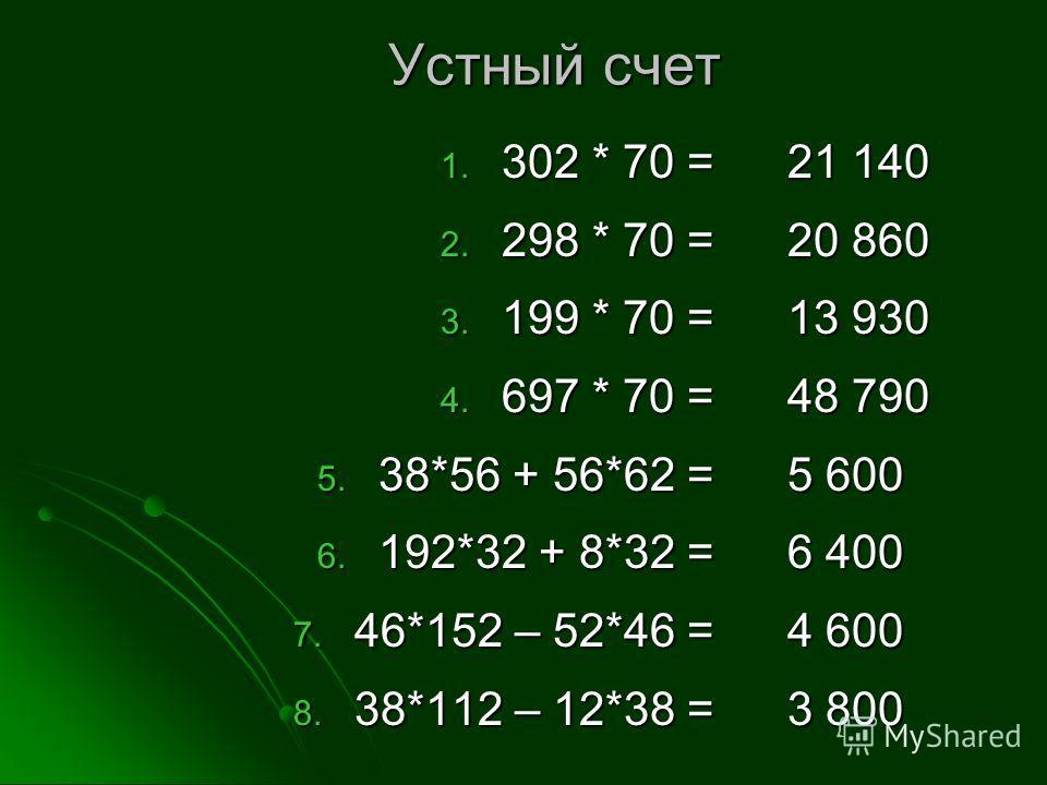 Устный счет 1. 302 * 70 = 2. 298 * 70 = 3. 199 * 70 = 4. 697 * 70 = 5. 38*56 + 56*62 = 6. 192*32 + 8*32 = 7. 46*152 – 52*46 = 8. 38*112 – 12*38 = 21 140 20 860 13 930 48 790 5 600 6 400 4 600 3 800