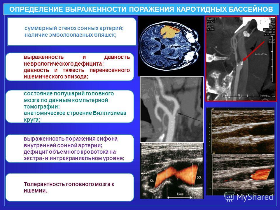 суммарный стеноз сонных артерий; наличие эмболоопасных бляшек; выраженность и давность неврологического дефицита; давность и тяжесть перенесенного ишемического эпизода; состояние полушарий головного мозга по данным компьтерной томографии; анатомическ