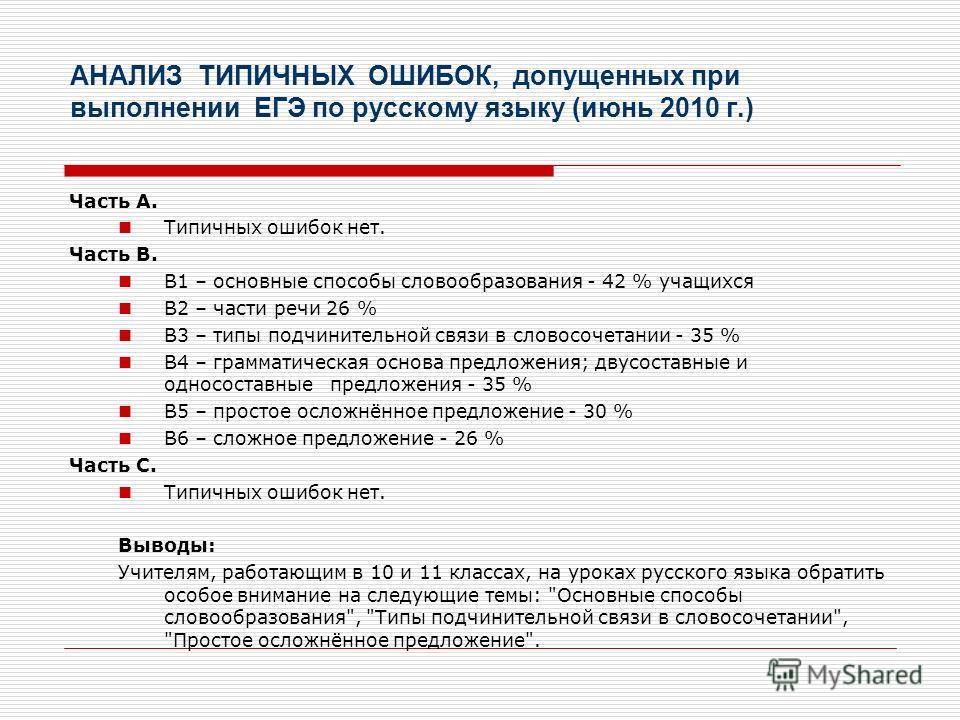 АНАЛИЗ ТИПИЧНЫХ ОШИБОК, допущенных при выполнении ЕГЭ по русскому языку (июнь 2010 г.) Часть А. Типичных ошибок нет. Часть В. В1 – основные способы словообразования - 42 % учащихся В2 – части речи 26 % В3 – типы подчинительной связи в словосочетании