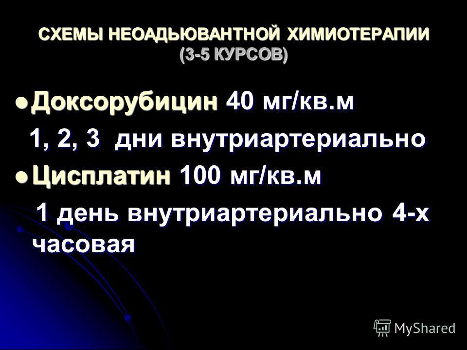 СХЕМЫ НЕОАДЬЮВАНТНОЙ ХИМИОТЕРАПИИ (3-5 КУРСОВ) Доксорубицин 40 мг/кв.м Доксорубицин 40 мг/кв.м 1, 2, 3 дни внутриартериально 1, 2, 3 дни внутриартериально Цисплатин 100 мг/кв.м Цисплатин 100 мг/кв.м 1 день внутриартериально 4-х часовая 1 день внутриа