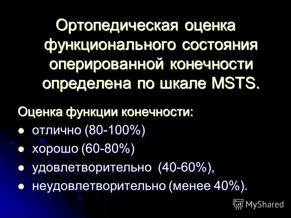 Ортопедическая оценка функционального состояния оперированной конечности определена по шкале MSTS. Оценка функции конечности: отлично (80-100%) отлично (80-100%) хорошо (60-80%) хорошо (60-80%) удовлетворительно (40-60%), удовлетворительно (40-60%),