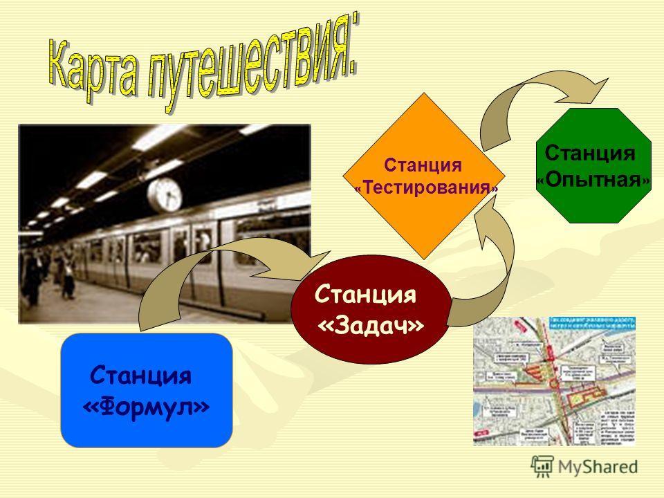 Станция «Формул» Станция «Задач» Станция « Тестирования » Станция « Опытная »