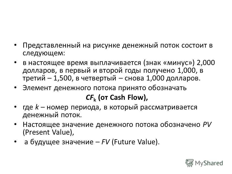Представленный на рисунке денежный поток состоит в следующем: в настоящее время выплачивается (знак «минус») 2,000 долларов, в первый и второй годы получено 1,000, в третий – 1,500, в четвертый – снова 1,000 долларов. Элемент денежного потока принято