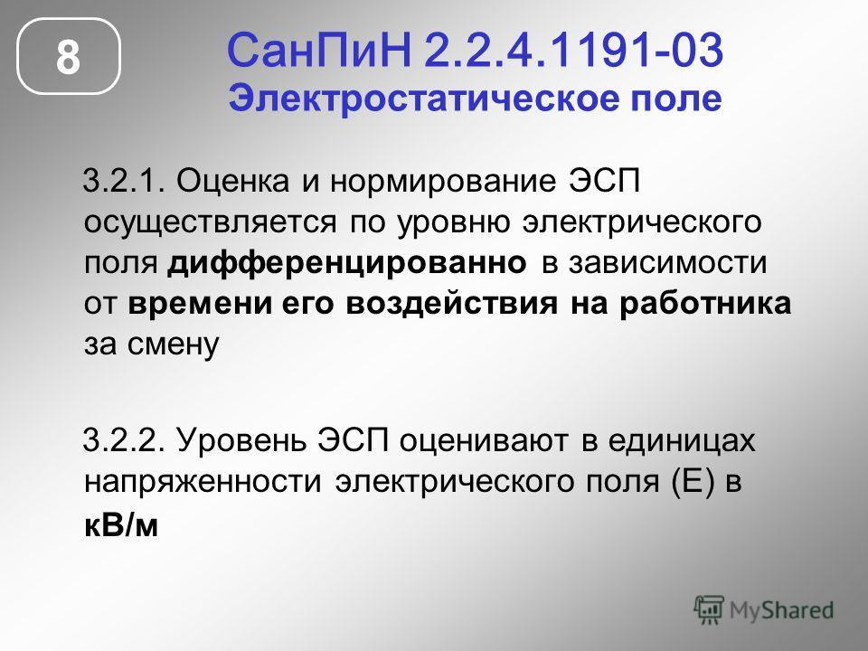 СанПиН 2.2.4.1191-03 Электростатическое поле 8 3.2.1. Оценка и нормирование ЭСП осуществляется по уровню электрического поля дифференцированно в зависимости от времени его воздействия на работника за смену 3.2.2. Уровень ЭСП оценивают в единицах напр