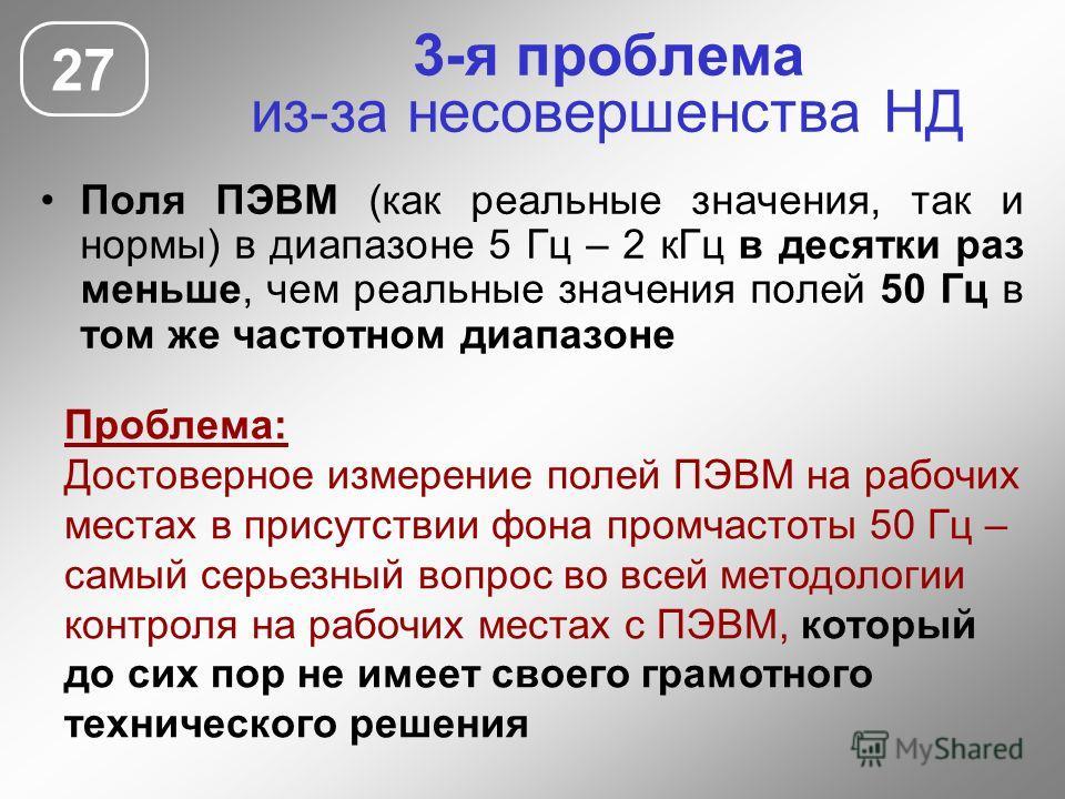 3-я проблема из-за несовершенства НД Поля ПЭВМ (как реальные значения, так и нормы) в диапазоне 5 Гц – 2 кГц в десятки раз меньше, чем реальные значения полей 50 Гц в том же частотном диапазоне 27 Проблема: Достоверное измерение полей ПЭВМ на рабочих