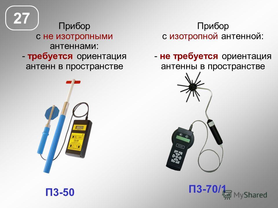 Прибор с не изотропными антеннами: - требуется ориентация антенн в пространстве 27 П3-50 П3-70/1 Прибор с изотропной антенной: - не требуется ориентация антенны в пространстве