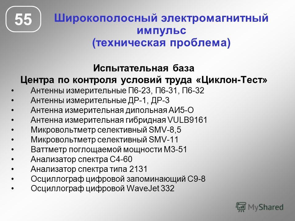 Широкополосный электромагнитный импульс (техническая проблема) 55 Испытательная база Центра по контроля условий труда «Циклон-Тест» Антенны измерительные П6-23, П6-31, П6-32 Антенны измерительные ДР-1, ДР-3 Антенна измерительная дипольная АИ5-О Антен