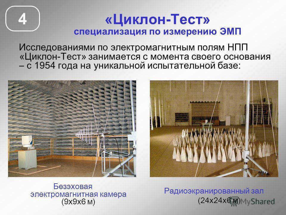 «Циклон-Тест» специализация по измерению ЭМП Исследованиями по электромагнитным полям НПП «Циклон-Тест» занимается с момента своего основания – с 1954 года на уникальной испытательной базе: 4 Безэховая электромагнитная камера (9х9х6 м) Радиоэкраниров