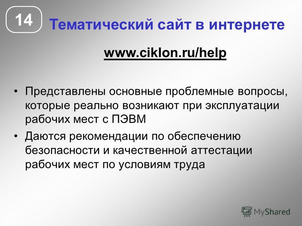 14 Тематический сайт в интернете www.ciklon.ru/help Представлены основные проблемные вопросы, которые реально возникают при эксплуатации рабочих мест с ПЭВМ Даются рекомендации по обеспечению безопасности и качественной аттестации рабочих мест по усл