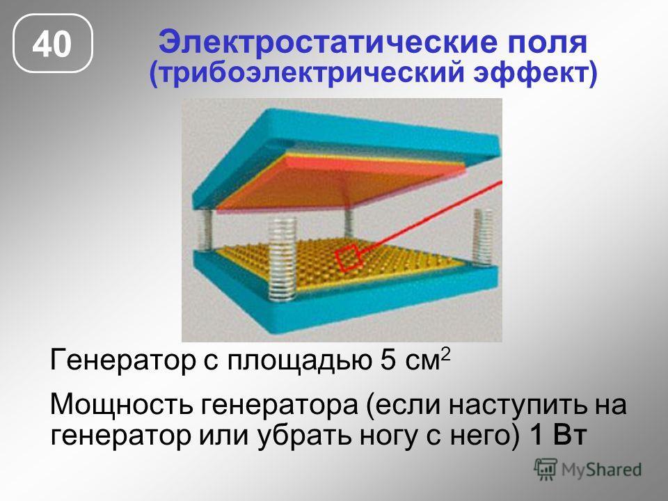 Электростатические поля (трибоэлектрический эффект) 40 Генератор с площадью 5 см 2 Мощность генератора (если наступить на генератор или убрать ногу с него) 1 Вт