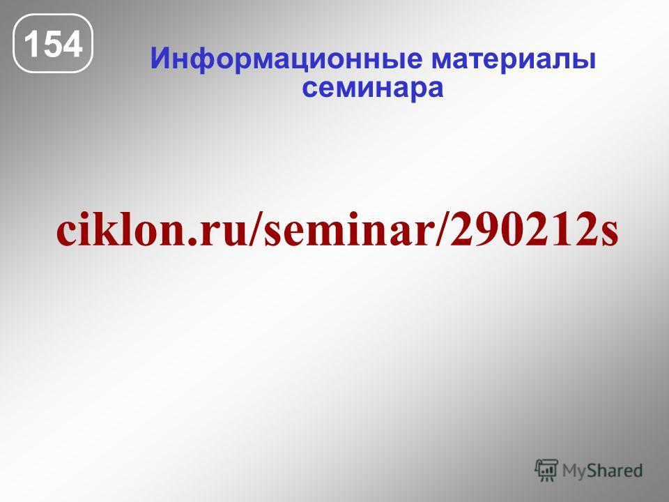 Информационные материалы семинара 154 ciklon.ru/seminar/290212s