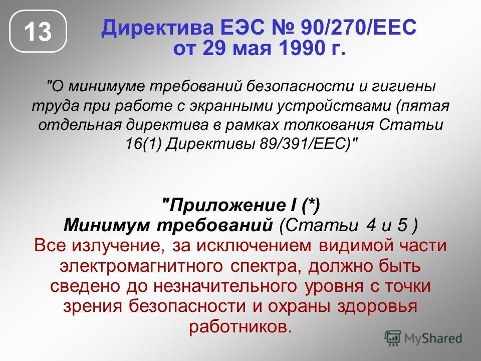 Директива ЕЭС 90/270/ЕЕС от 29 мая 1990 г. 13