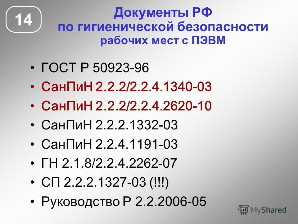 Документы РФ по гигиенической безопасности рабочих мест с ПЭВМ 14 ГОСТ Р 50923-96 СанПиН 2.2.2/2.2.4.1340-03 СанПиН 2.2.2/2.2.4.2620-10 СанПиН 2.2.2.1332-03 СанПиН 2.2.4.1191-03 ГН 2.1.8/2.2.4.2262-07 СП 2.2.2.1327-03 (!!!) Руководство Р 2.2.2006-05