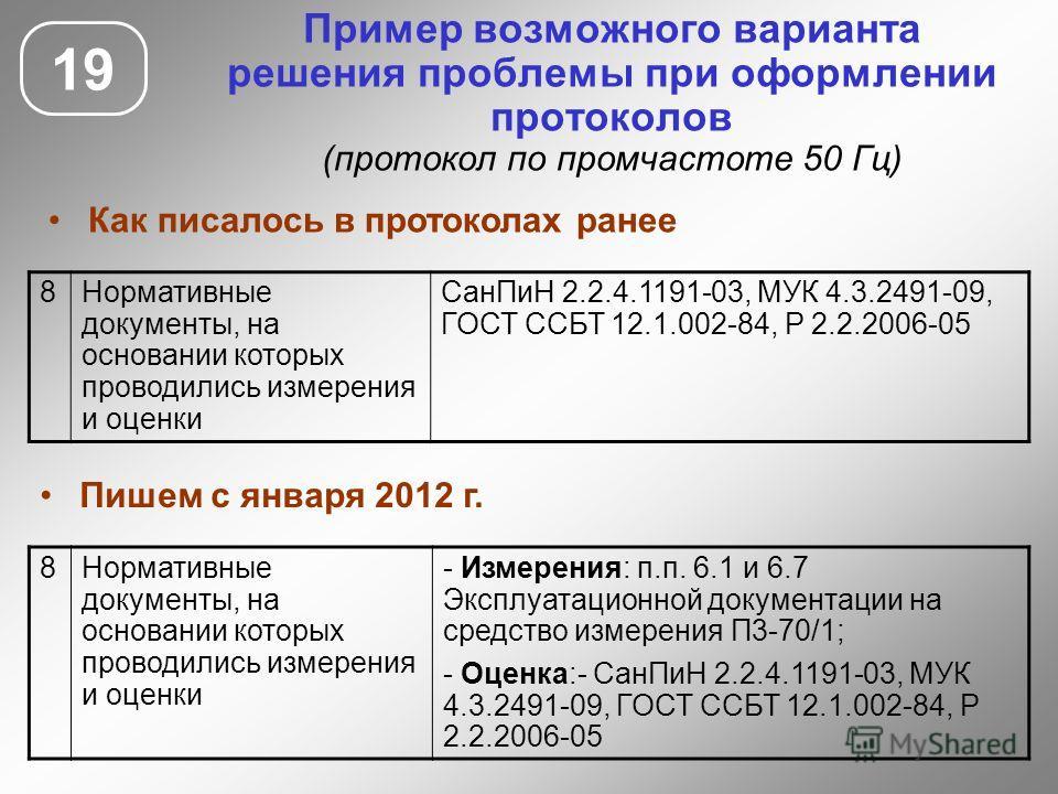 19 Пример возможного варианта решения проблемы при оформлении протоколов (протокол по промчастоте 50 Гц) 8Нормативные документы, на основании которых проводились измерения и оценки СанПиН 2.2.4.1191-03, МУК 4.3.2491-09, ГОСТ ССБТ 12.1.002-84, Р 2.2.2