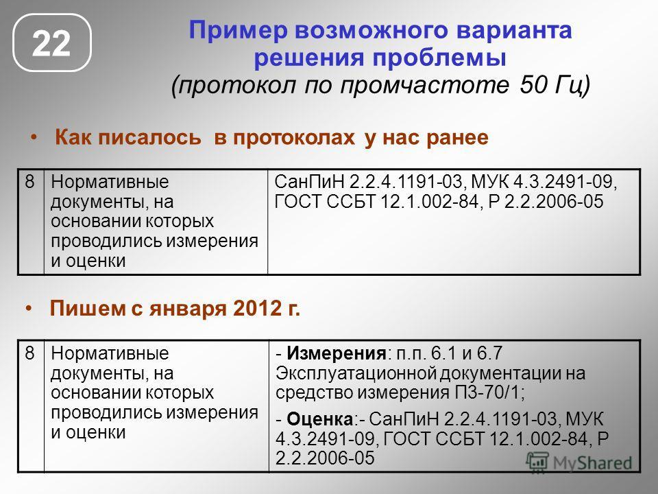 22 Пример возможного варианта решения проблемы (протокол по промчастоте 50 Гц) 8Нормативные документы, на основании которых проводились измерения и оценки СанПиН 2.2.4.1191-03, МУК 4.3.2491-09, ГОСТ ССБТ 12.1.002-84, Р 2.2.2006-05 8Нормативные докуме