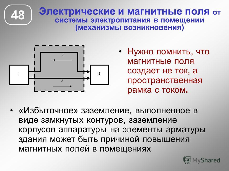 Электрические и магнитные поля от системы электропитания в помещении (механизмы возникновения) 48 Нужно помнить, что магнитные поля создает не ток, а пространственная рамка с током. 1 J 2 J «Избыточное» заземление, выполненное в виде замкнутых контур